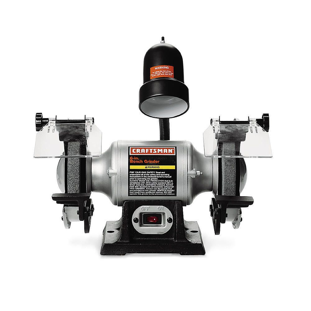 Craftsman 1 6 Hp 6 Bench Grinder With Lamp 21124 Bench Grinder Bench Grinders Craftsman Benches