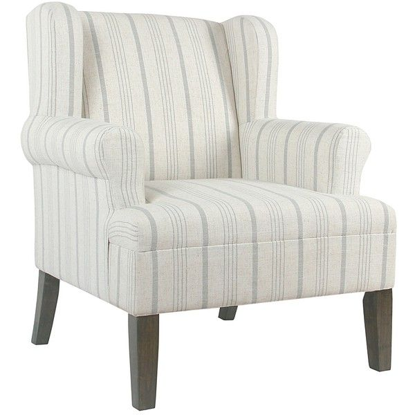 Dove Gray Stripe Accent Chair ($240) ❤ Liked On Polyvore Featuring Home,  Furniture