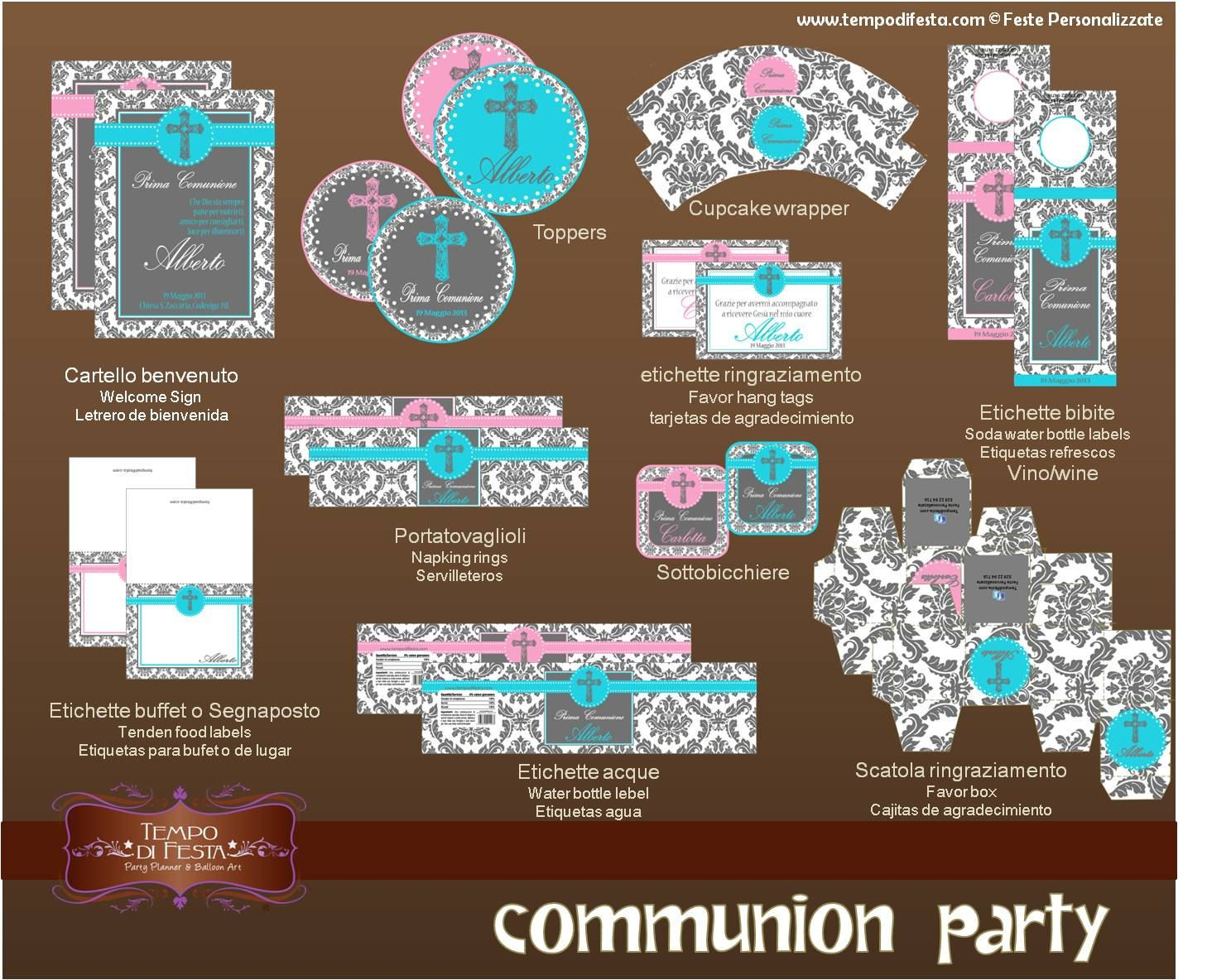 first communion Printable Party by Tempodifesta on Etsy