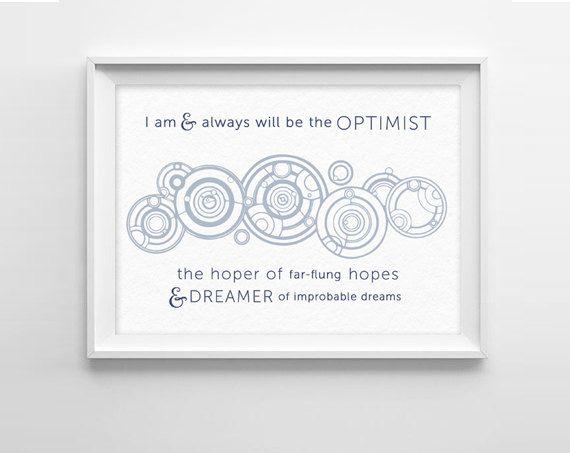 Doctor Who Quote Art Print -  Optimist