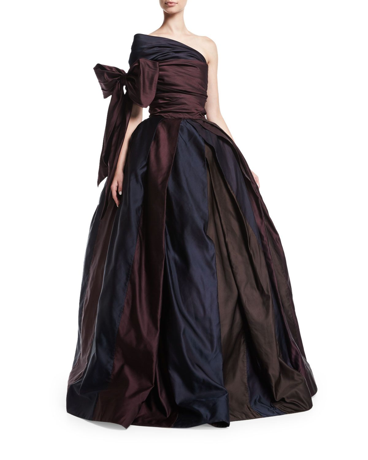 One-Shoulder Ball Gown with Bow, Brown/Purple/Navy   Products