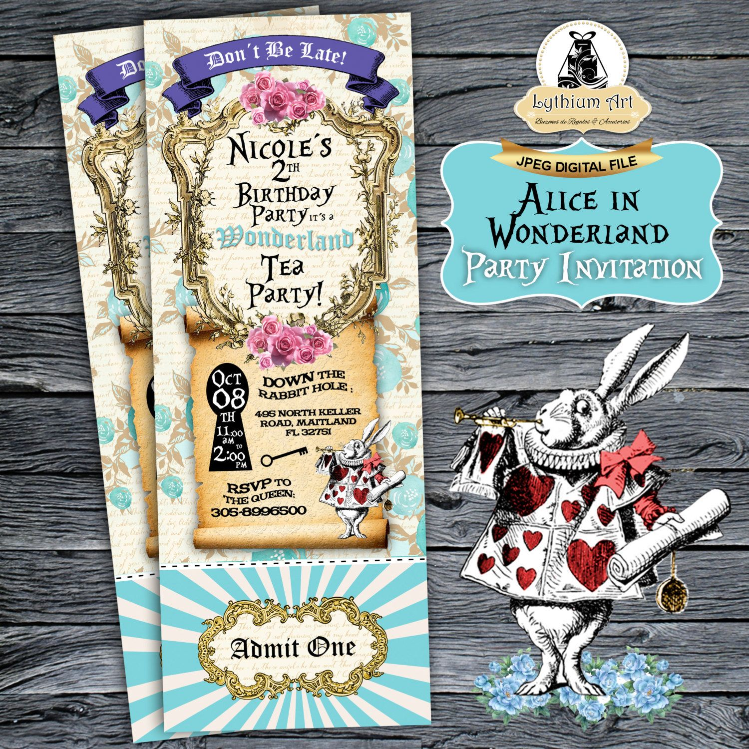 Alice In Wonderland Ticket Invitation  Alice In Wonderland Invitation