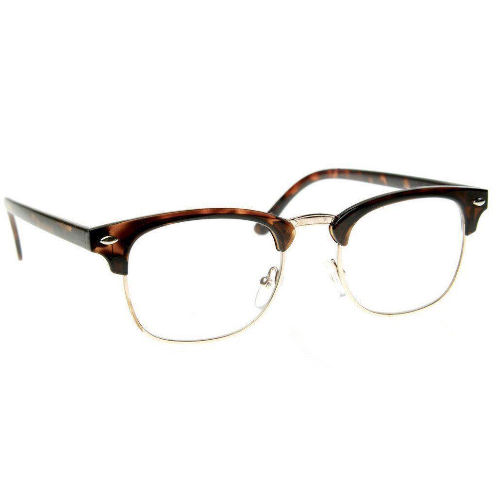 836c70503f Black Brown Tortoise Clubs Master Half Frame Metal Frame Clear Glasses