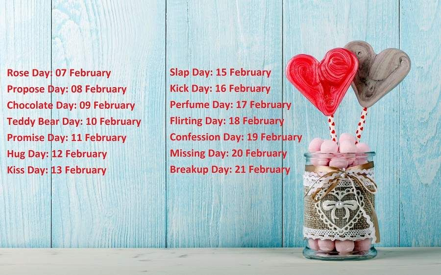 7 Feb To 21 Feb Days List 2019 List Of All Days From 7th Feb To