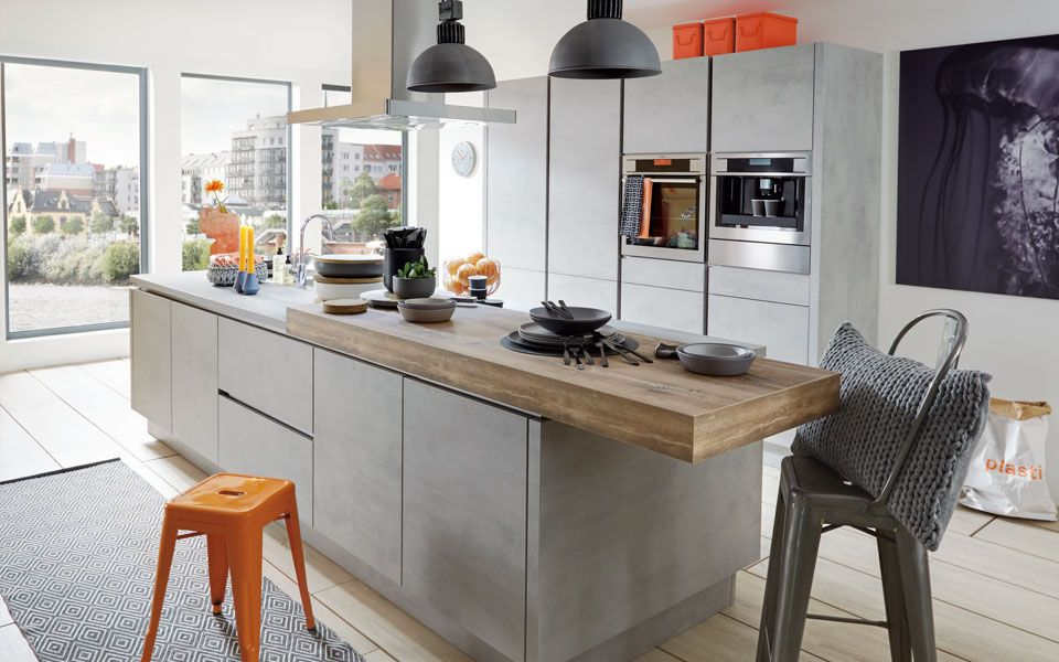 BetonKüche mit Kochinsel inkl. Einbaugeräte Küche&Co