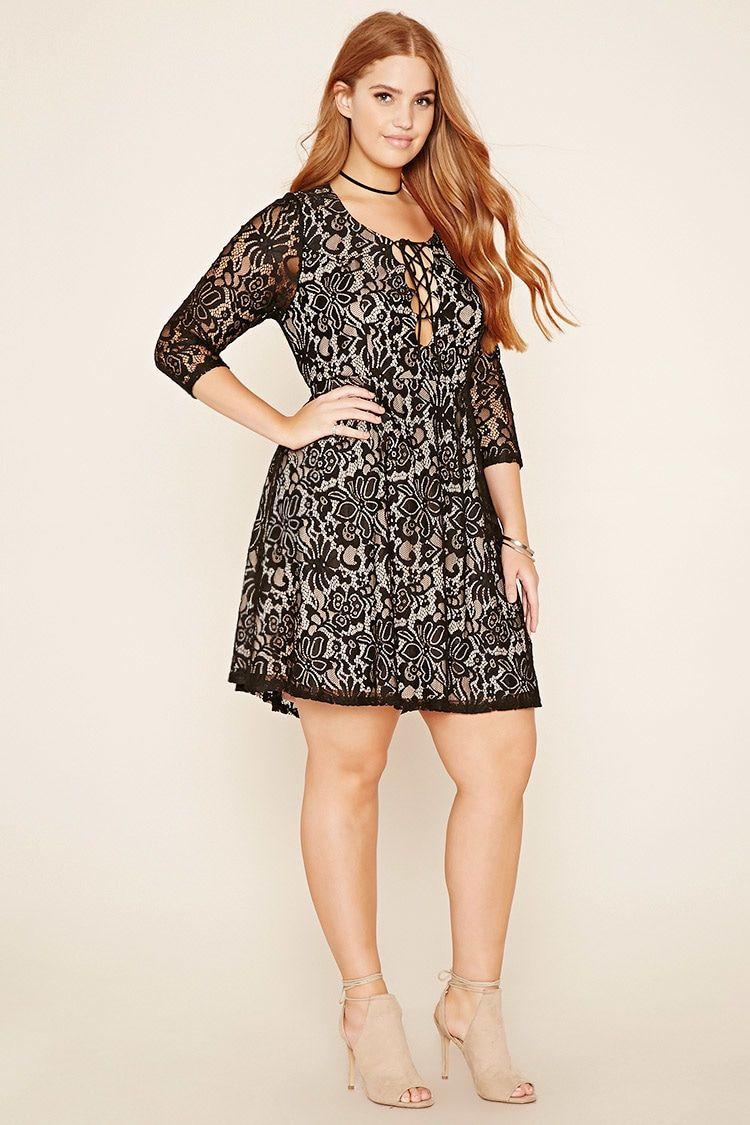 Plus Size Crochet Lace Up Dress Plussize Curvy