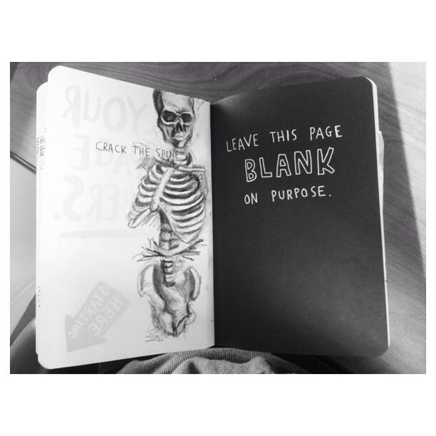 My crack the spine for wreck this journal. Skeleton drawing