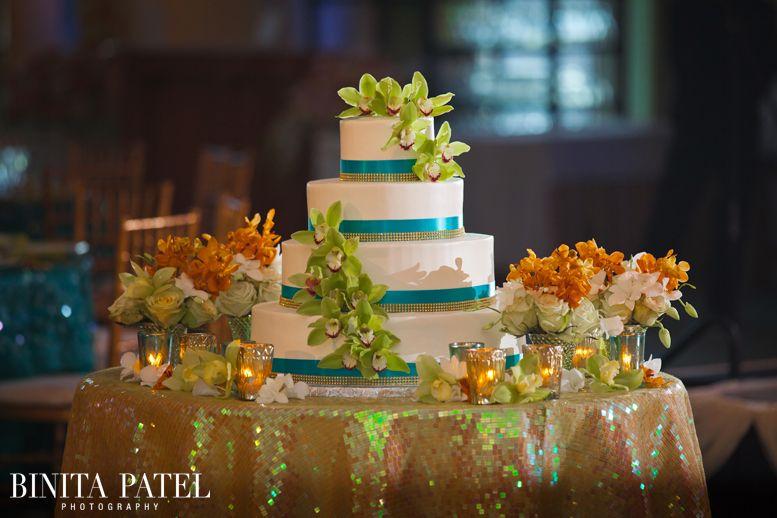 Wedding Cake Decor, Wedding Cake Display, Teal Green Wedding Decor