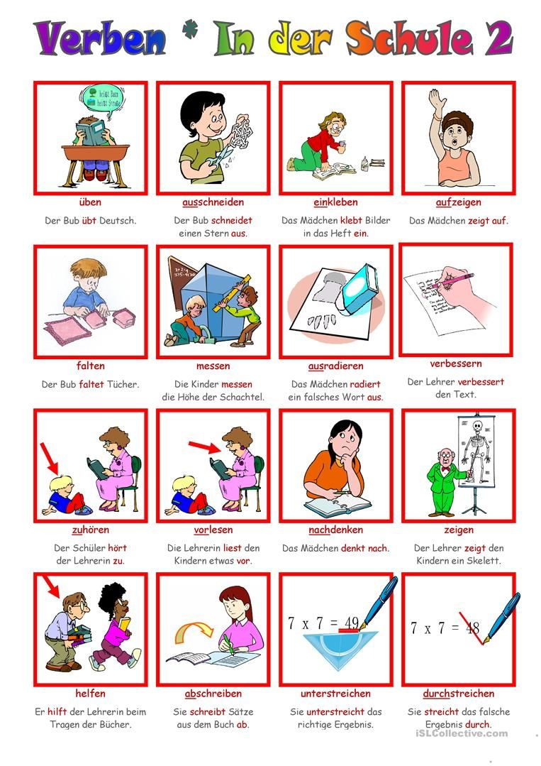 Verben _ In der Schule 2 | DaZ | Pinterest | German language and ...