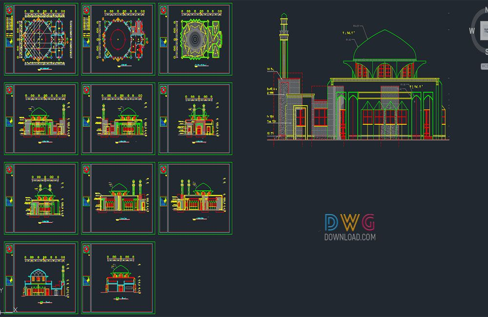 Dwg Download -Mosque Project Dwg | Architectural Detail Dwg