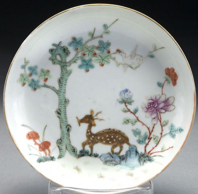 (3) Qing dynasty Chinese export porcelain saucers : Lot 315