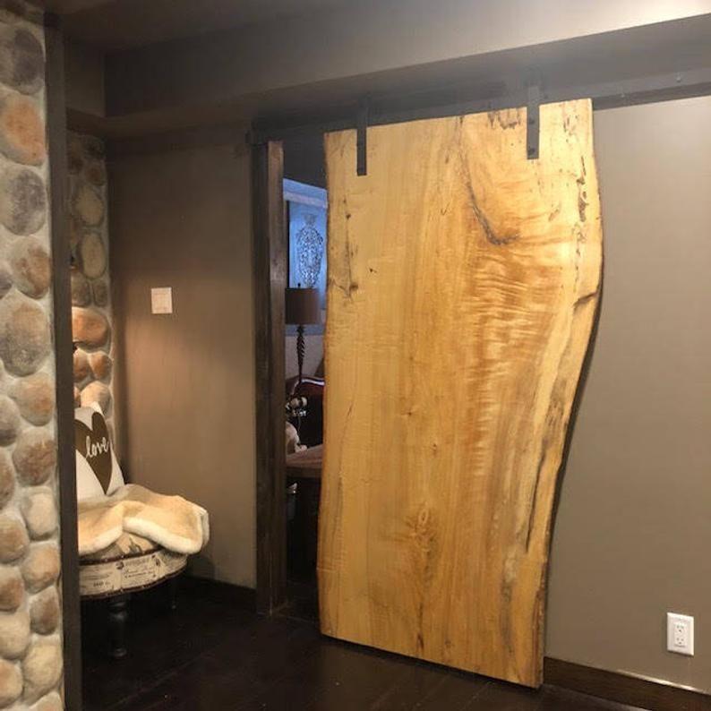 Live Edge Door Barn Board Door Custom Wood Doors Sliding Doors Etsy Barn Doors Sliding Slab Door Barn Door