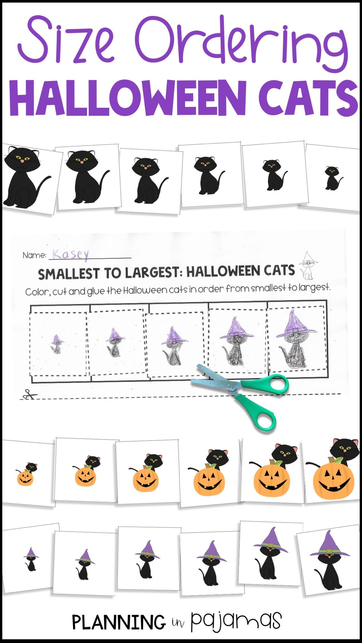 Halloween Black Cats Size Ordering From Smallest To Largest Activities Worksheet And Card Fall Crafts For Toddlers Black Cat Halloween Halloween Math Lesson [ 2249 x 1265 Pixel ]