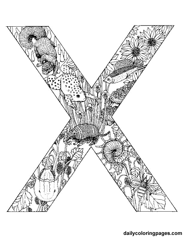 X animal alphabet letters to 612 792 paper for Alphabet coloring pages for adults