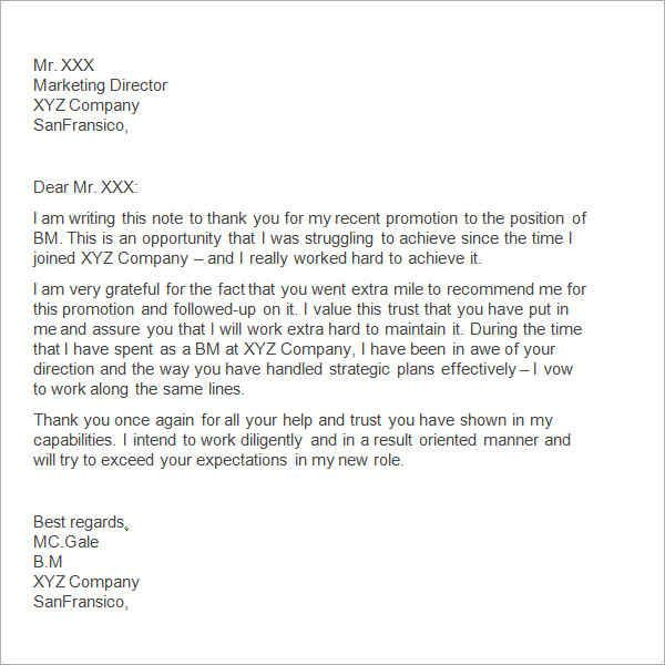 sample thank you letter boss free documents download word for - thank you letter for promotion