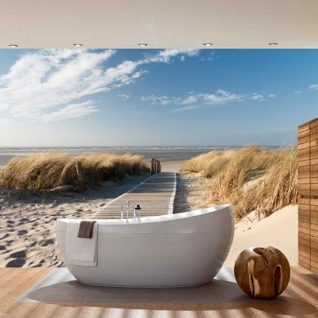 vlies fototapete north sea dunes strand tapete meer nordsee ostsee beach wasser blau himmel. Black Bedroom Furniture Sets. Home Design Ideas