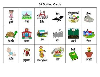 Noun Picture Cards and Recording Sheets for Sorting | 2 ...