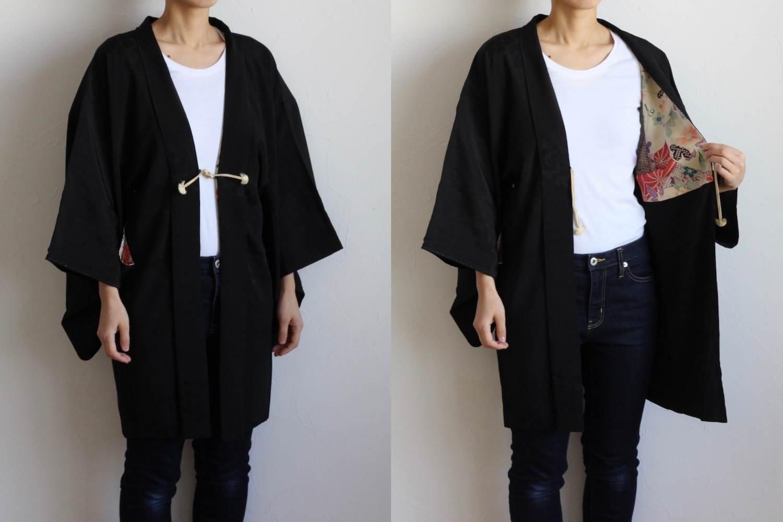 Etsy のblack kimono jacket, kimono cardigan, haori, bell sleeve ...