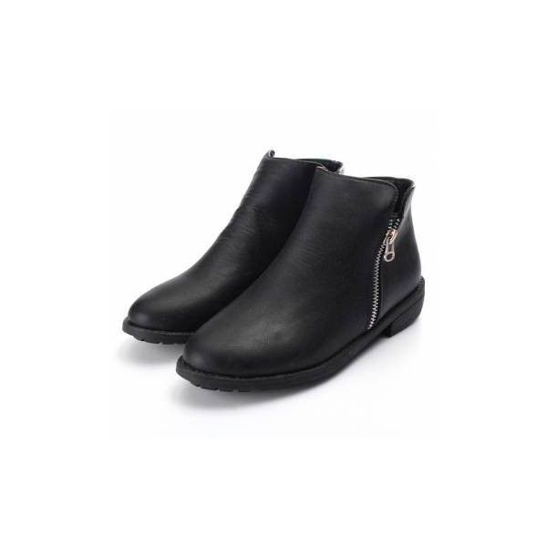 Leather Short Ankle Zipper Low Heel Boots (120 SEK) ❤ liked on Polyvore featuring shoes, boots, ankle booties, ankle boots, black ankle booties, short black boots, short boots, low heel ankle boots and short heel booties