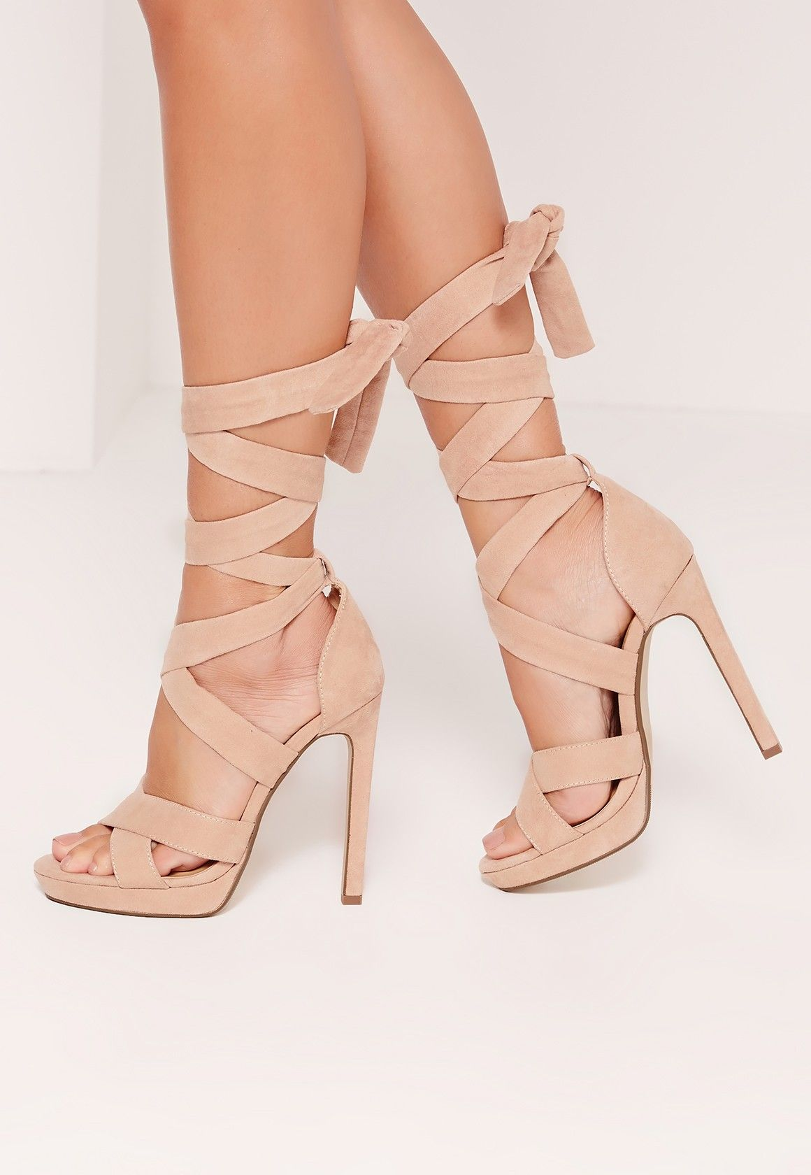 Missguided - Wrap Around Strap Platform Heels Nude  4493e51a57a6
