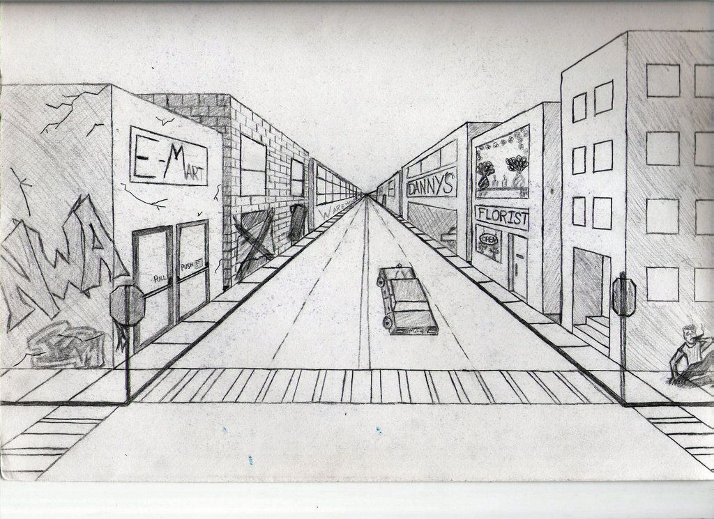city one point perspective - Google Search in 2019 | One ...Easy One Point Perspective Drawing