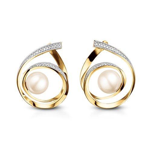 5f6dc147e Brinco em ouro amarelo 18k, 12,6 pts de diamantes e 2 pérolas - Coleção  Fitas