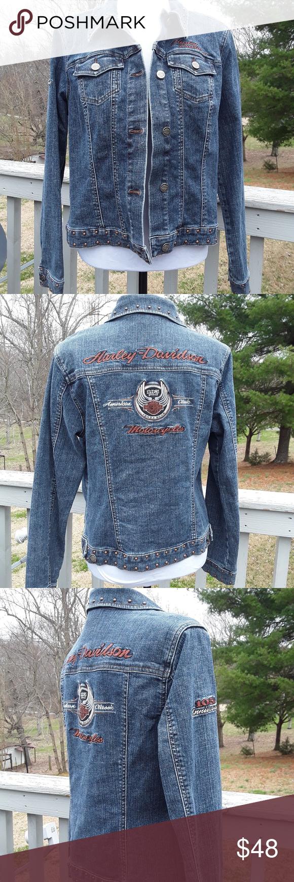Womens Harley Davidson Jean Jacket Sz L Harley Davidson Jean Jacket Harley Davidson Jeans Jackets [ 1740 x 580 Pixel ]