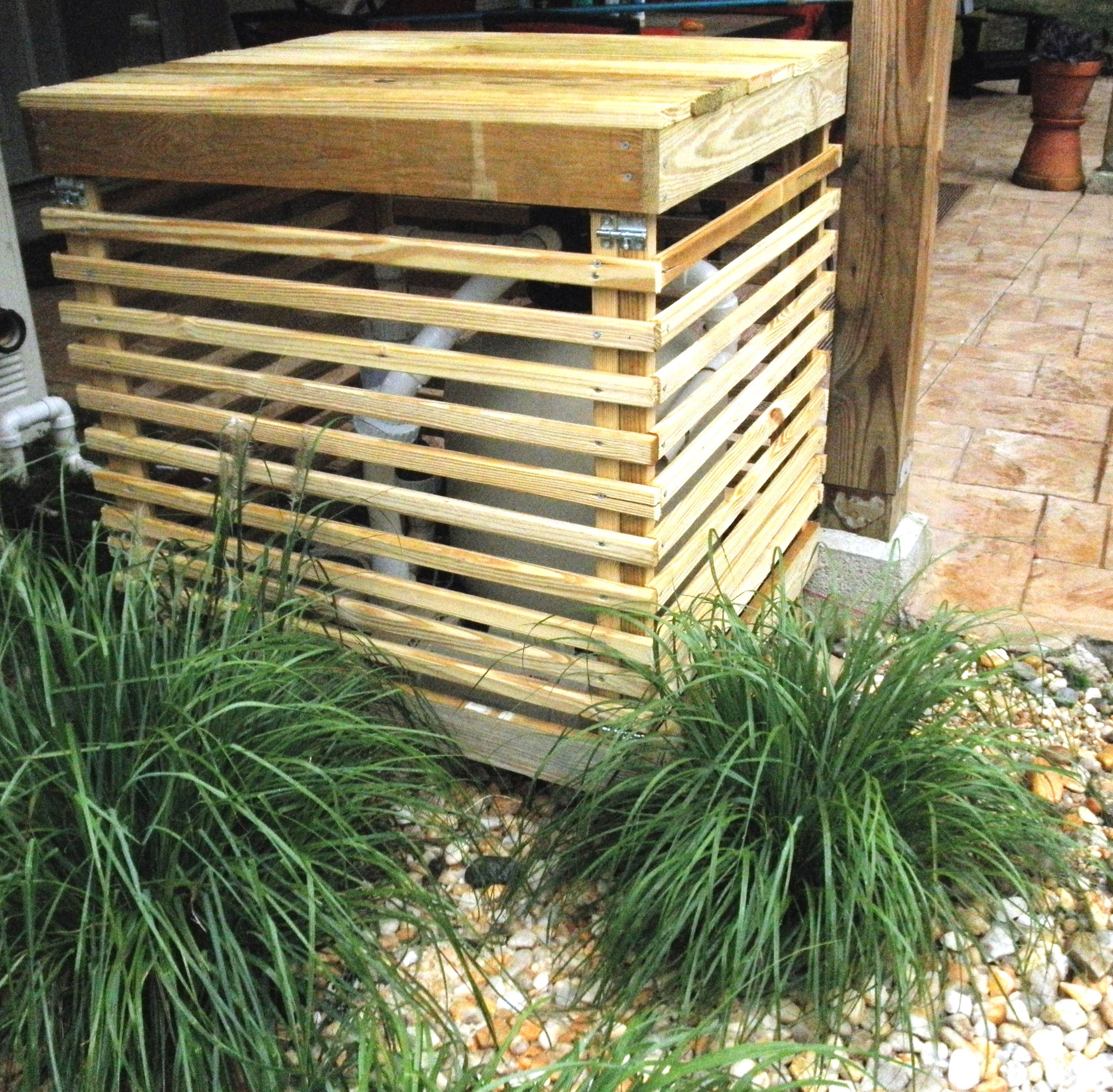 """Husband built a nice wooden slatted """"box"""" to cover our"""