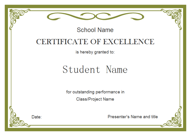 Student Certificate Template | Student Certificates, Awards for Free Student Cer...