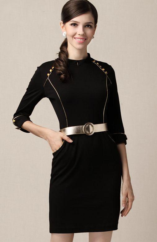 c67ad19565589 Black High Neck Half Sleeve Pockets Belt Sheath Dress