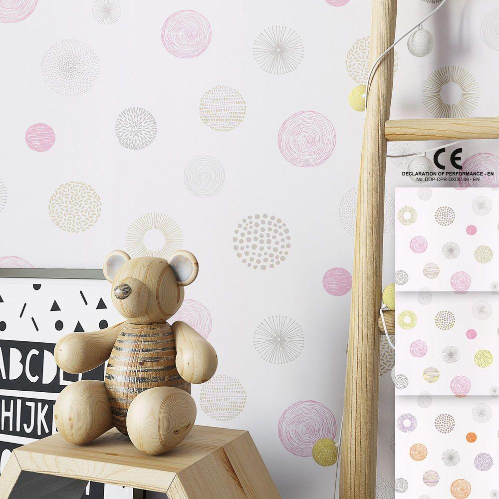 Tapete Aus Duplex Fur Kinderzimmer Madchen Und Baby Weis Geometrisch Neuware Lichtbestandigkeit