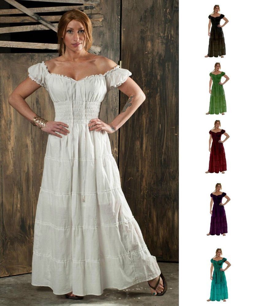 peasant style wedding dress Renaissance pirate peasant wench costume medieval boho cotton gown sun dress