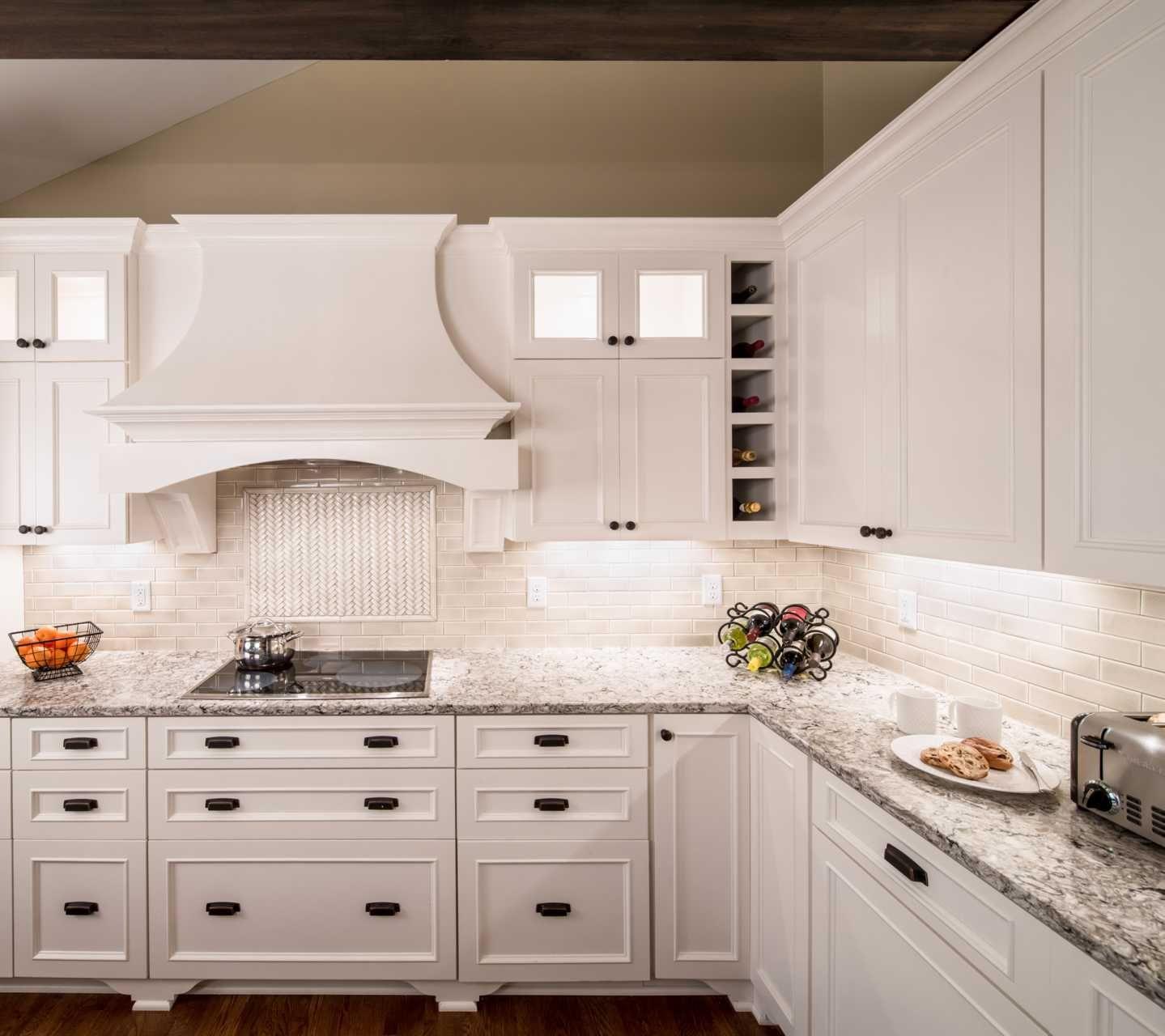 Cambria Bellingham With Dove White Cabinets Travertine Backsplash