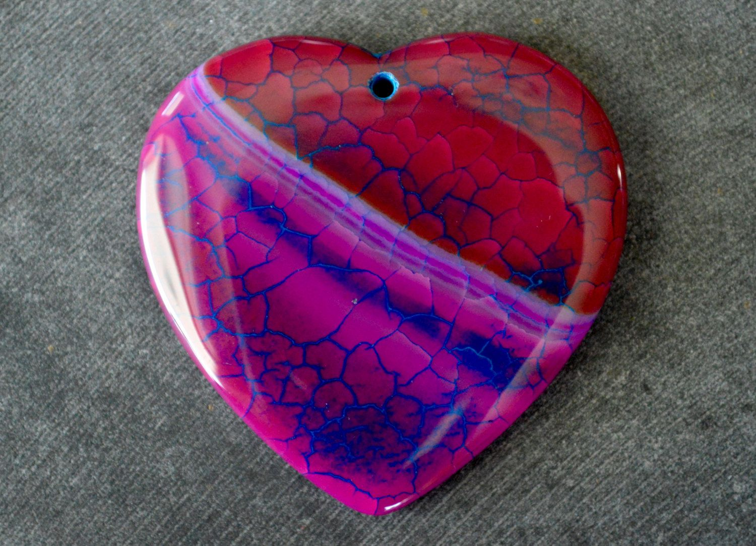 45mm Hot Pink Dragon Veins Agate Heart Stone Pendant, Stone Pendant, 45x45x7mm Natural Stone, Fire Agate Pendant by TheBeadBandit on Etsy