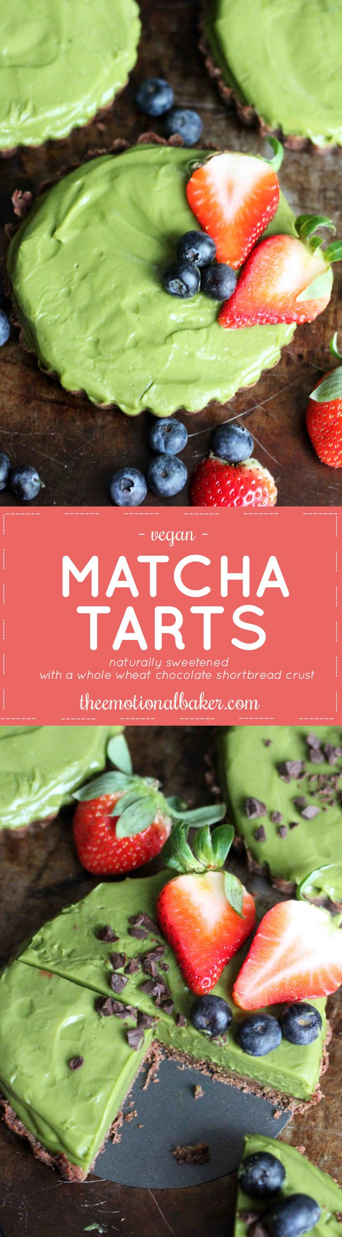 This Matcha Tart is secretly healthy! It's sweetened with coconut sugar and maple syrup and has a whole wheat chocolate crust.