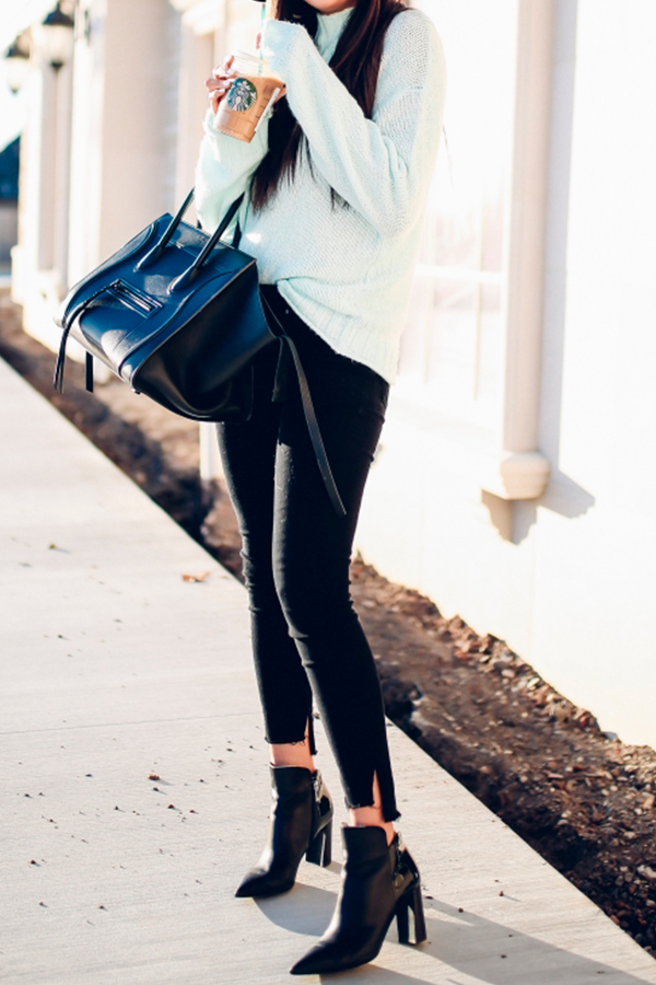 6e98fa8036ea4 Cozy Mock Neck Sweater: BP | DENIM: Frame | BOOTIES: Marc Fisher | 'Piper'  Floppy Wool Hat: Brixton | BAG: Celine (Tory Burch dupe HERE) | WATCH:  Michele ...