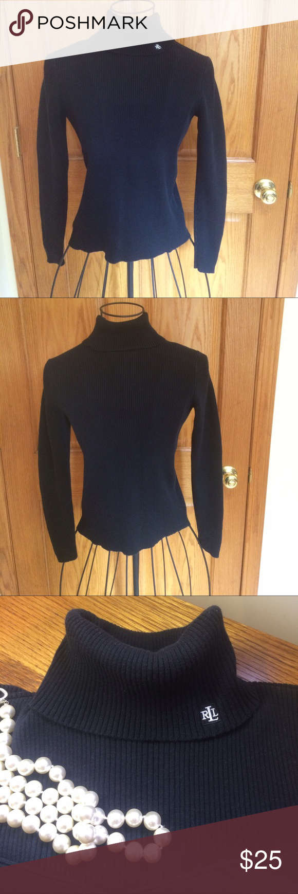 Lauren Ralph Lauren Black Turtleneck Top Black ribbed turtleneck ...