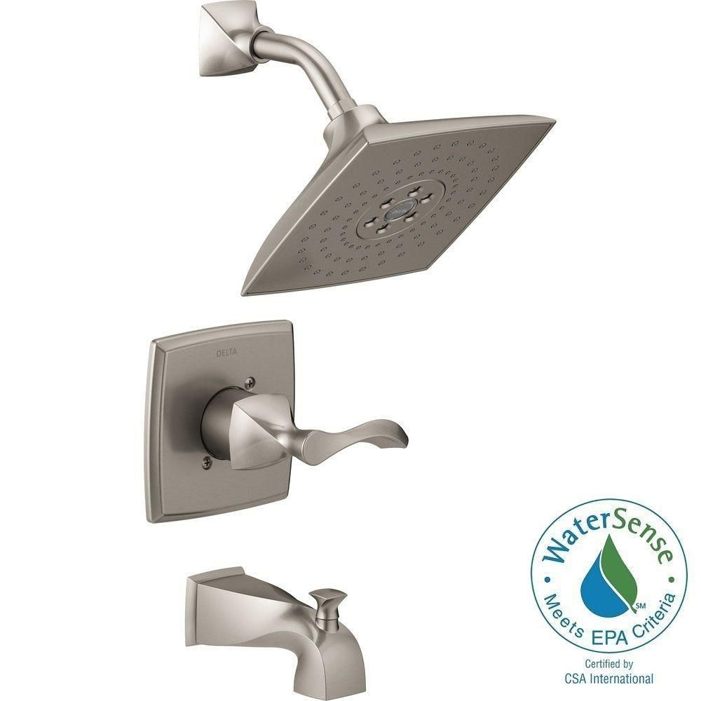 Delta Everly 1 Handle 3 Spray Tub And Shower Faucet In Spotshield Brushed Nickel With H2okinetic Technology Valve Included 144741 Sp Tub And Shower Faucets Shower Faucet Shower Tub