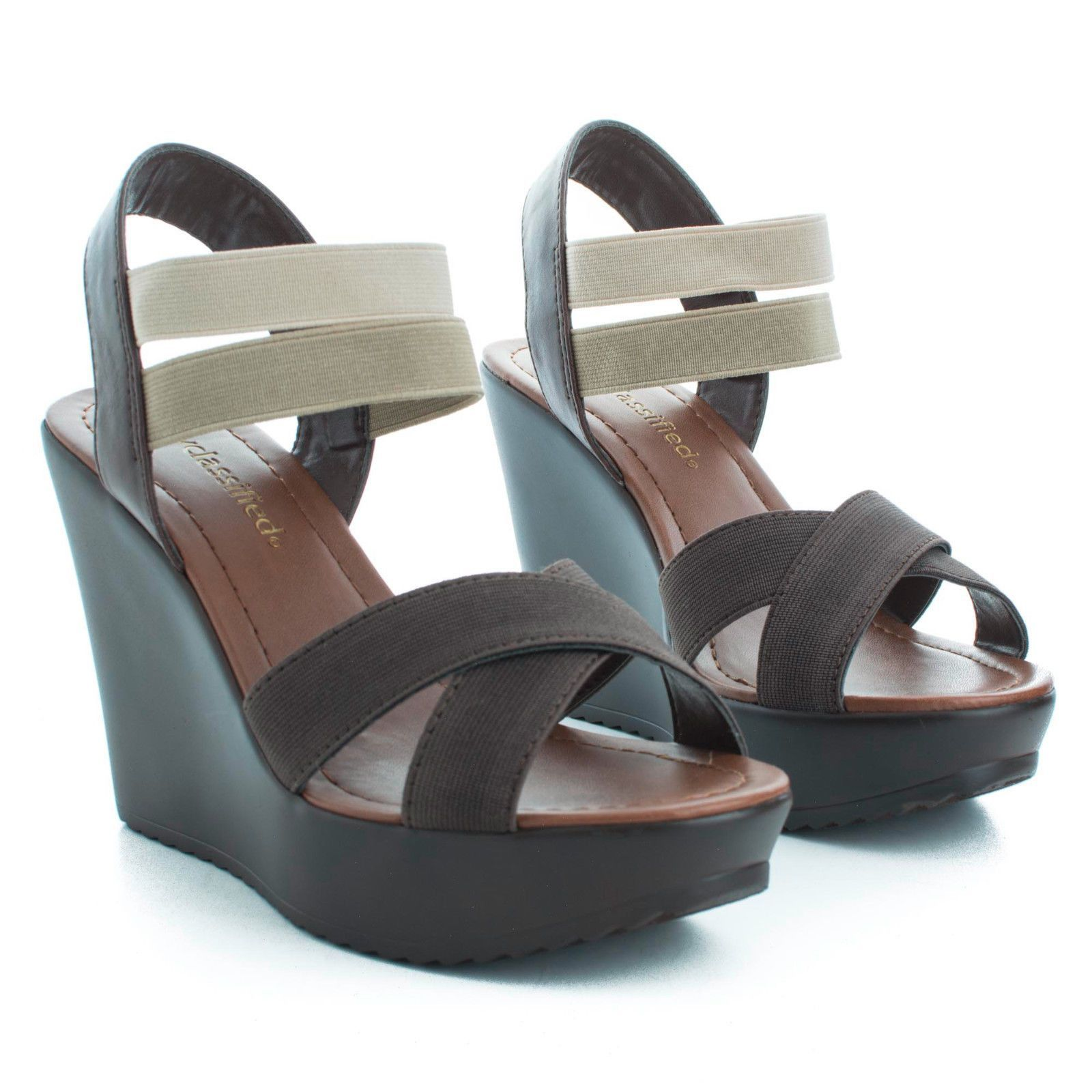 Benny Open Toe Strappy Elastic Ankle Cuff Platform Casual Wedges Women Shoes
