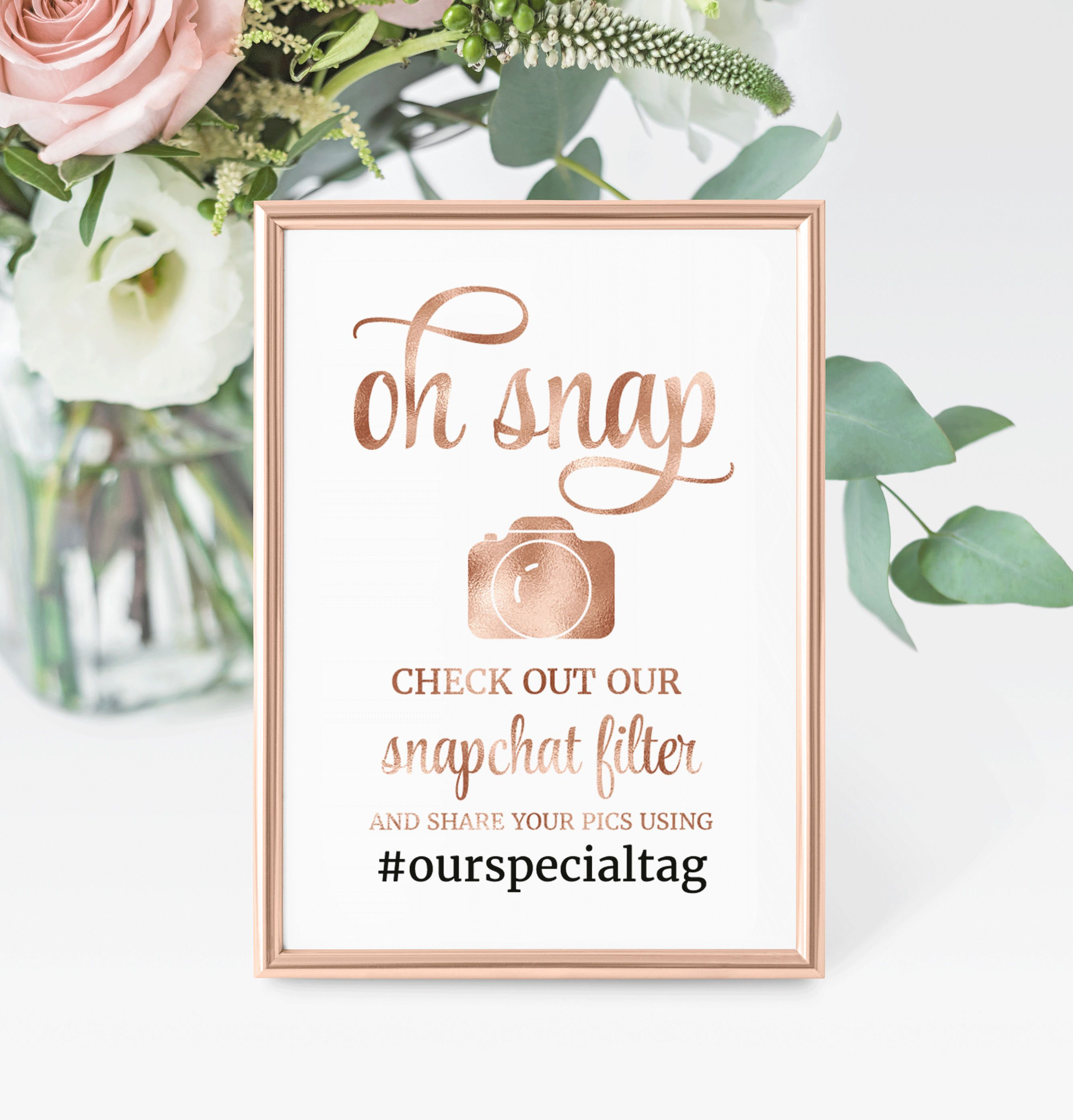 Wedding Snapchat filter sign, Rose Gold Hashtag Sign