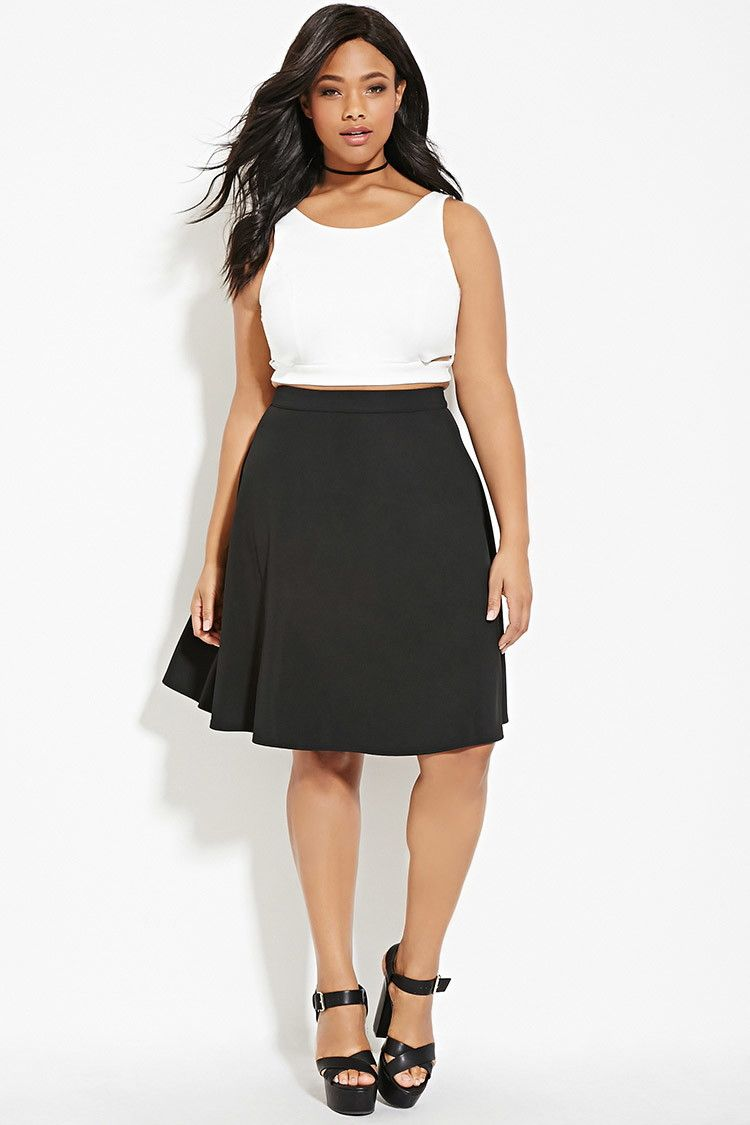 Forever 21  - A woven A-line skirt in a knee-length cut with an ...