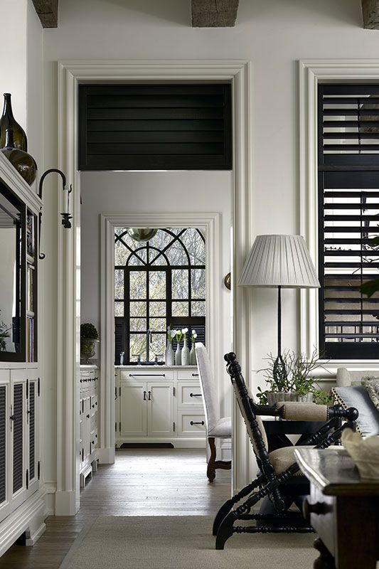 Black plantation shutters bill litchfield designs the - Shutters for decoration interior ...