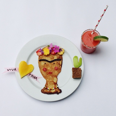 Give the kids an art history lesson at breakfast -- Frida Kahlo pancakes!!