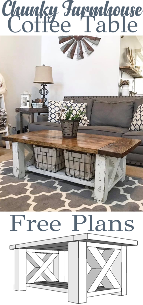 Chunky Farmhouse Coffee Table Farmhouse Decor Living Room Farm