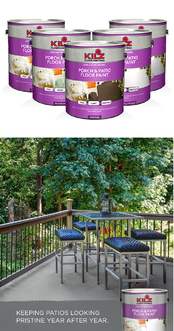 Enjoy Your Outdoor Patio All Summer Long With Kilz Porch Patio Floor Paint This Long Lasting Finish Offers Patio Flooring Porch And Patio Paint Porch Paint