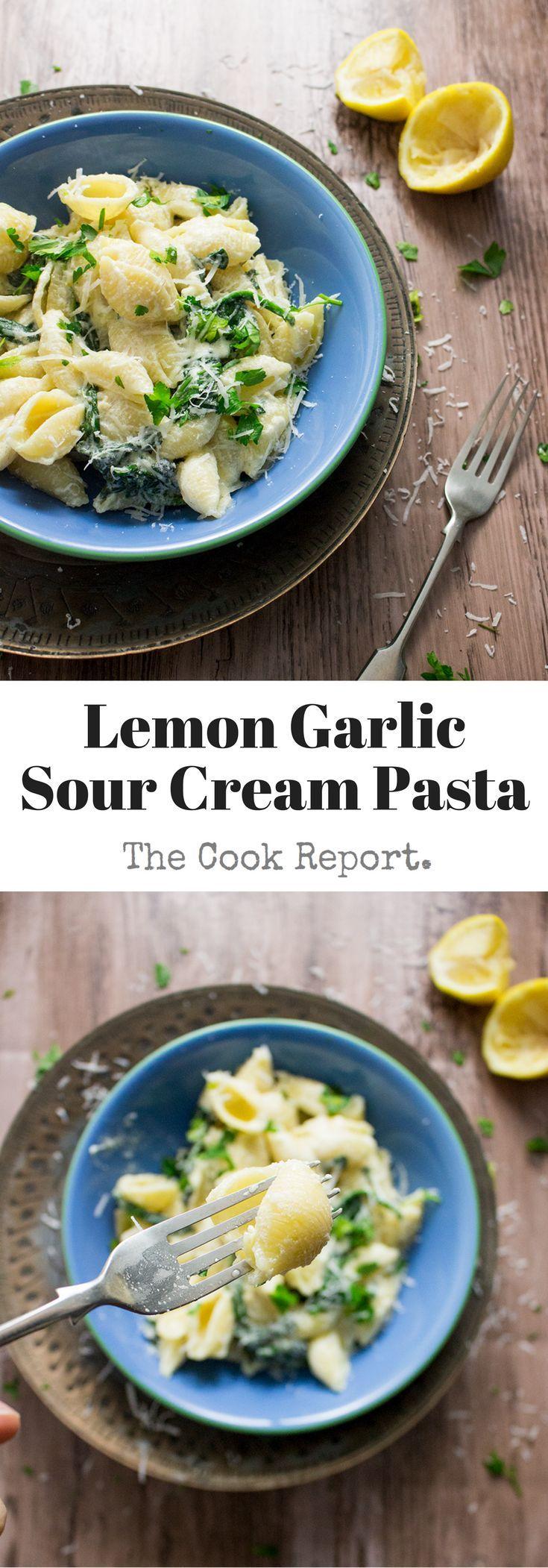 Lemon Garlic Sour Cream Pasta