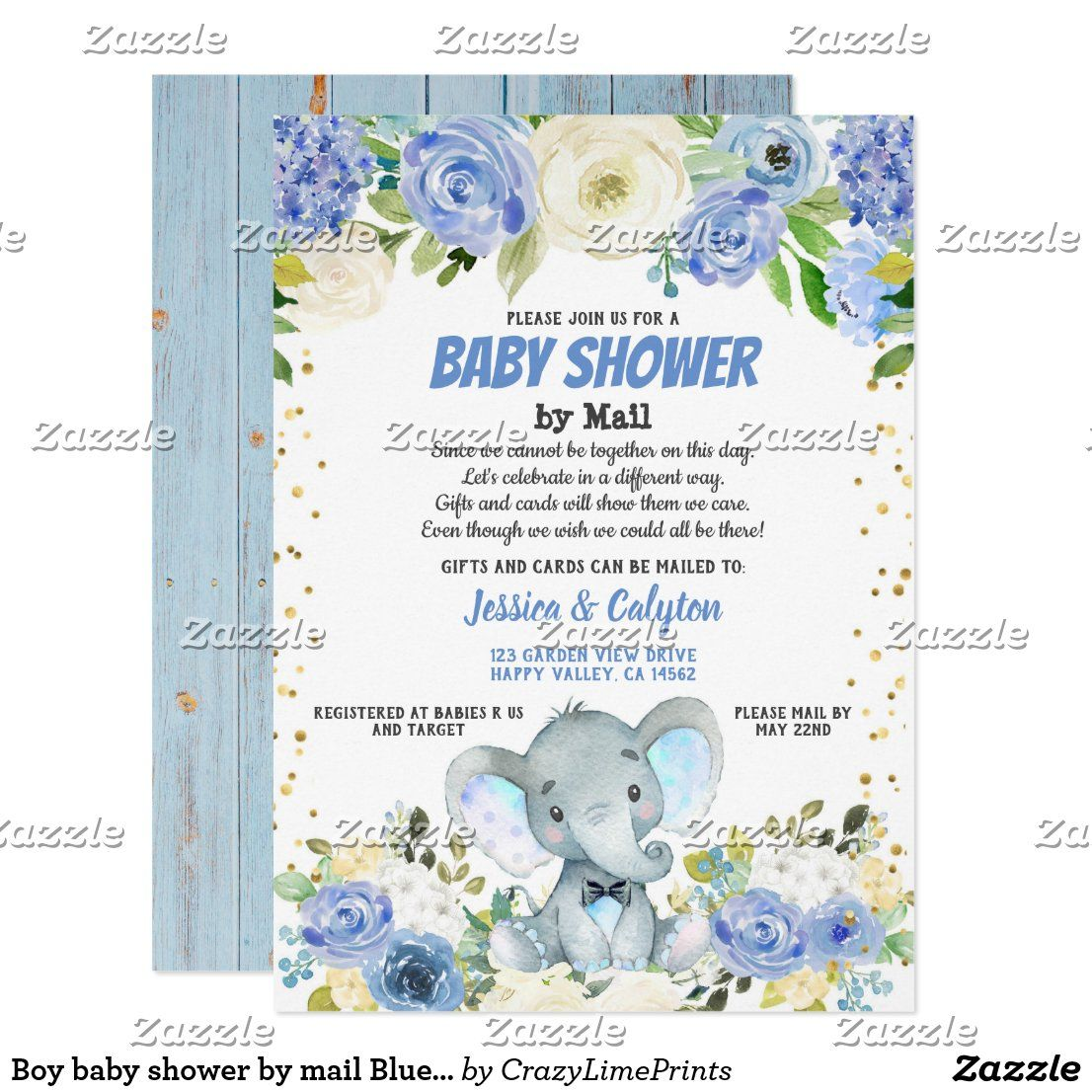 Boy Baby Shower By Mail Blue Elephant Rose Flower Invitation Zazzle Com In 2020 Baby Boy Shower Flower Invitation Virtual Baby Shower