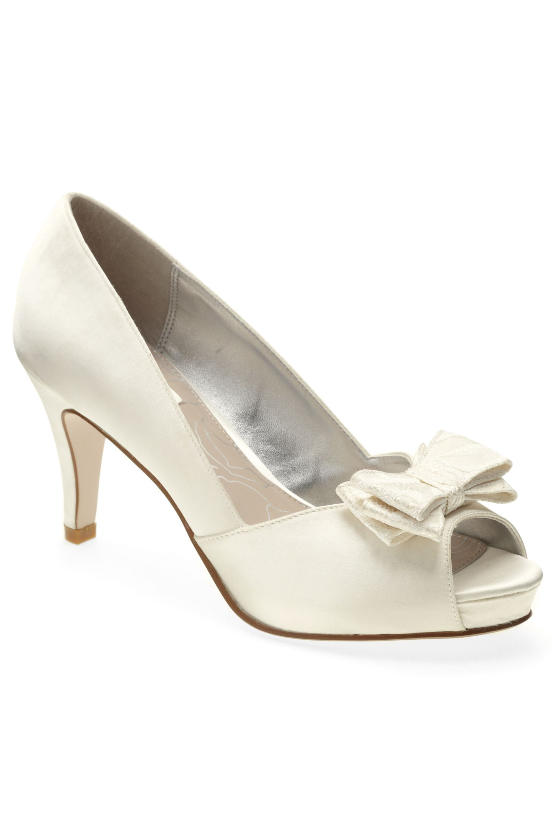 Ivory Lace Bow Peep Toe Court Shoes From Next UK