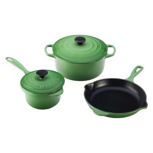 $510.00 | Le Creuset Signature Enameled Cast-Iron 5-Piece Cookware Set, Fennel. (CLICK IMAGE TWICE FOR UPDATED PRICING AND INFO) See More Enamel Cast Iron Cookware Sets at www.momsbestkitchen.com/product-category/cast-iron-cookware-sets/