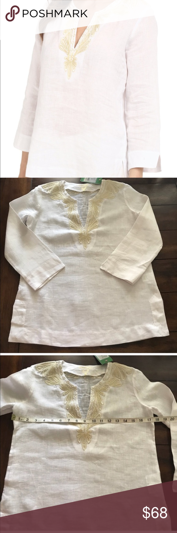 Lilly Pulitzer Amelia Island white linen tunic Lilly Pulitzer Amelia Island white 100% linen tunic with gold v-neck detail. New with tags and all measurements included in photos. Tops Tunics #linentunic